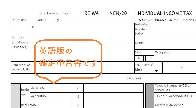 英語翻訳 確定申告書